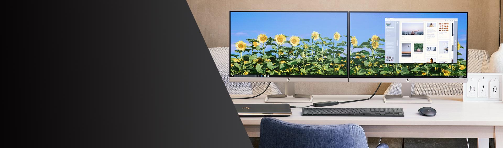 Monitores HP. Ahorra hasta 10%*. Disfruta la belleza de la claridad y nitidez.