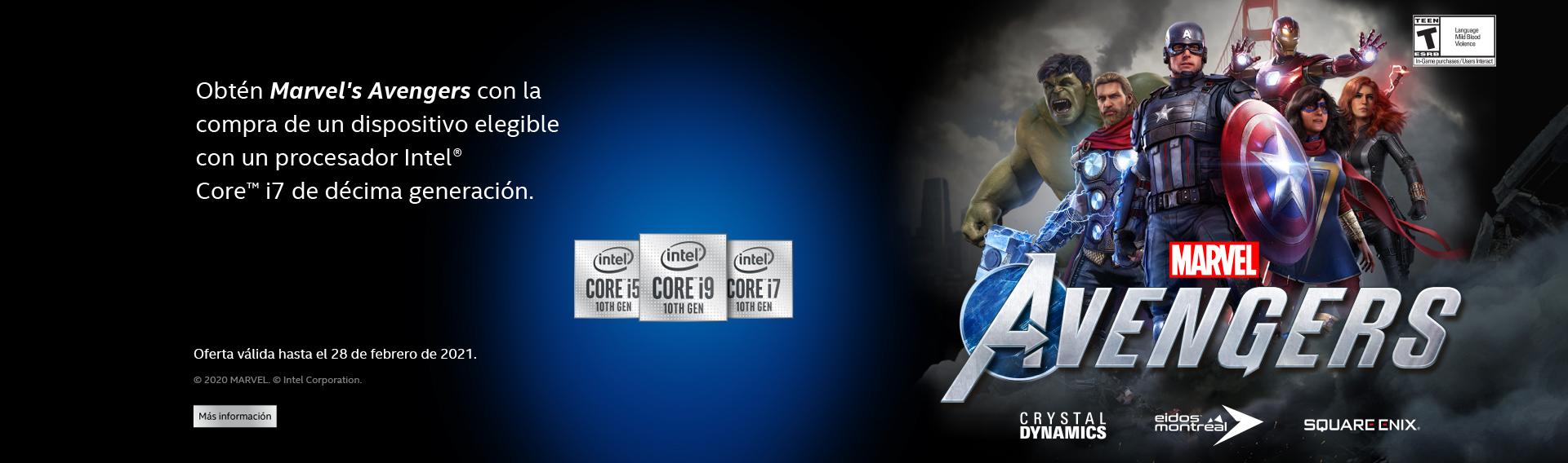 Compra un producto con procesador Intel y obten Marvel´s Avengers.