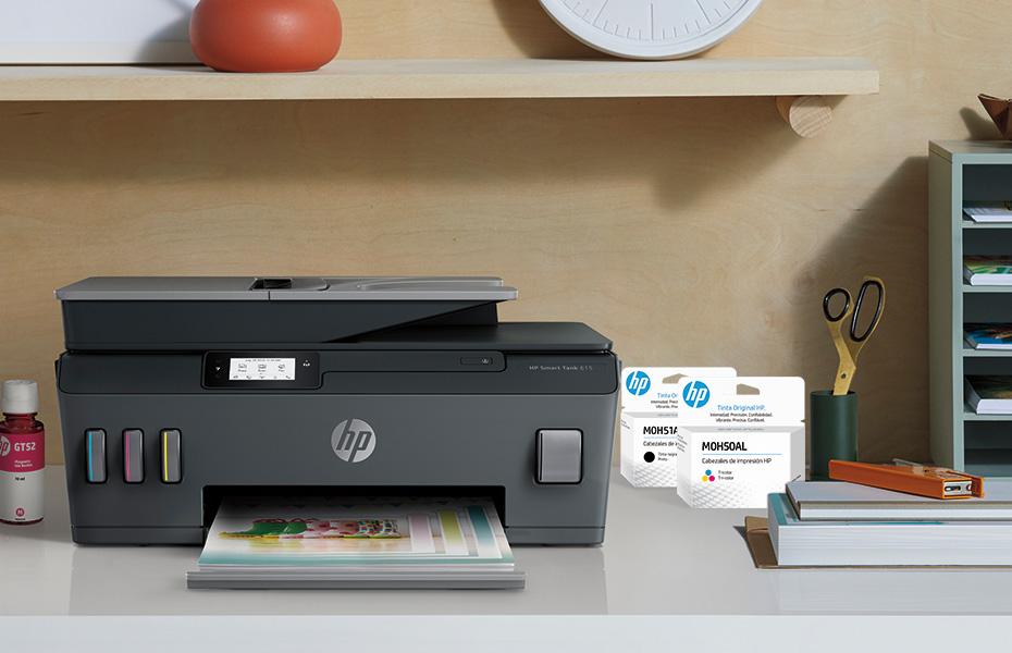 Impresora HP Smart Tank 615 con cabezal de impresión