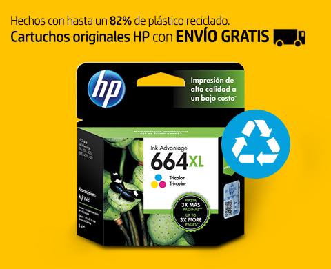 Hechos con hasta un 82% de plástico reciclado. Cartuchos originales HP con Envío Gratis.